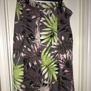 Lane Bryant Brown Tropical Floral Skirt Size 18/20